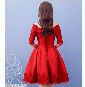 パーティドレス ウエディングドレス 袖あり パーティー 花嫁 ウェディングドレス ミニドレス 大きいサイズ オフショルダー 五分袖