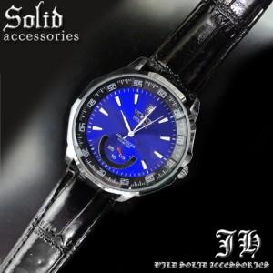 ★送料無料 腕時計 オートマティック 自動巻き 革ベルト ブルー 青 【t145】