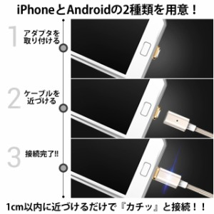 ※予約3月下旬発送※マグネット強化充電器 アイフォン アンドロイド マグネット 楽ちん iPhone7/7Plus/6s/6/6sPlus/6Plus/SE 1/18