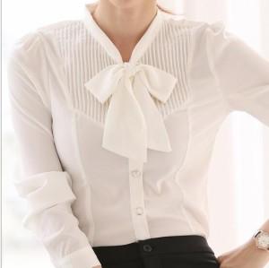 春夏スーツシャツ無地レディース通勤OL リクルート ビジネスオフィス フォーマル長袖ワイシャツYシャツ ブラウス卒業式リボン就活シャツ
