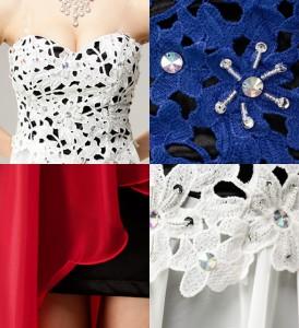 【アウトレット】レース×オーロラビジュー装飾 シフォンマレットドレス