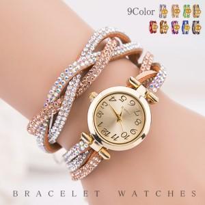 腕時計 ウォッチ ブレスレット キラキラ ゴージャス ボリューム サイズ調整可能 レディース 99bb2807【4月6日頃入荷発送予定】