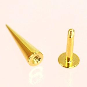 【メール便 送料無料】ボディピアス ゴールドロングコーン ラブレット 14G(1.6mm)Anodized ボディーピアス  ┃