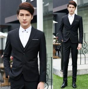 メンズ/スーツ+パンツ+ベスト+ネクタイ/ビジネスドレス/上下セット/
