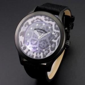 【ROMAGO/ロマゴ】ヒョウ柄 ビッグフェイス腕時計 メンズ レディース ミラーウォッチ ヴァイブランシーシリーズ