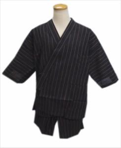 夏祭&普段着に 粋なメンズ男物男性甚平(じんべい)黒茶地ラインM・L・LL
