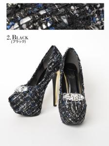 [4サイズ S/M/L/LL] 15cmヒール 大粒ビジュー付銀糸ツイードラウンドトゥパンプス / 靴 厚底オリジナル 秋冬