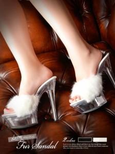 15cmヒール フェイクファークリアサンダル / 前厚ストーム ミュール キャバ 厚底 靴 シューズ 大きいサイズ