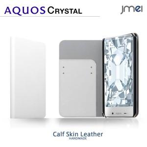 AQUOS CRYSTAL 305SH ケース/カバー 本革 JMEIオリジナルレザーフリップケース ZAN (ホワイト) スマホケース/スマートフォン
