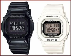 カシオ/G-SHOCK【CASIO/BABY-G】ペアウォッチ ソーラー電波腕時計 ブラック/ホワイト【国内正規品】GW-M5610BB-1JF/BGD-5000-7JF