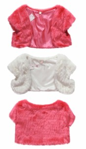 ふわふわフェイクファーボレロ半袖ショート丈カーディガン羽織肩掛け大きいサイズ有[F/2L/3L/4L][白/ピンク]