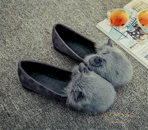 送料無料ファーぺたんこ パンプス レディース ファー付き サンダルフラットシューズ ローヒール暖かい ローヒール防寒 可愛い靴/シューズ