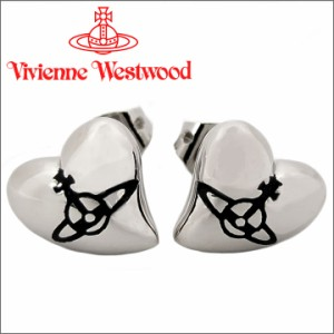 ヴィヴィアン ウエストウッド ハートスタッドピアス シルバー×ブラック Vivienne Westwood