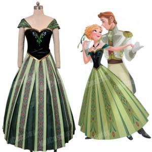 高品質 高級コスプレ衣装 ディズニー風 アナと雪の女王 戴冠式