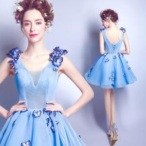 ウェディングドレス パーティドレス 花柄 二次会 結婚式 司会者 披露宴 ナイトドレス ミニドレス