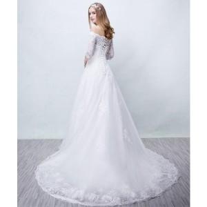 ウェディングドレス パーティードレス 着痩せ 二次会 結婚式 舞台衣装 花嫁 レース  オフショルダー  XS〜3XLロング丈