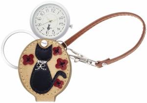 ルーペウォッチ 猫柄 懐中時計 ルーペウォッチ 花ねこ  ストラップ付き ブラック