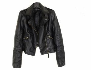 ライダース ジャケット ダブルジッパーライン フェイク レザー  黒のジャケットレディース ブルゾン新作 レディース 送料無料