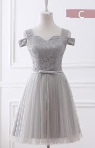 グレー 6タイプ ミニドレス パーティードレス ワンピース二次会演出司会ブライズメイドドレス結婚式お呼ばれ ショート丈
