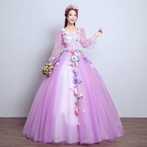 4色入荷 カラードレス 二パーティードレス ウェディングドレス 発表会 演奏会用ドレス プリンセスライン 二次会・花嫁衣裳にも♪