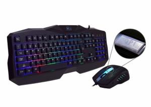 Riitek ゲーミングキーボード ワイヤードゲーミングマウス セット USB有線接続 7色LEDバックライト付 RK400