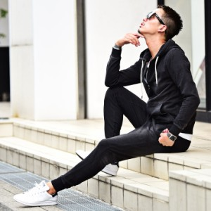 ◆送料無料◆セットアップ メンズ スウェット スウェットデニムセット カットデニム パーカー 上下 ジョガーパンツ パーカ trend_d