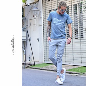 Tシャツ メンズ サーフ系 星条旗 インディゴ 半袖Tシャツ アメリカ 春夏 夏 夏服 夏物 インディゴTシャツ 白 trend_d