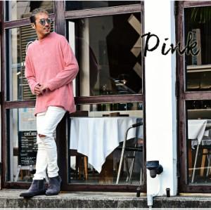 ニット メンズ 長袖 ビッグサイズ 無地 シンプル Uネック ブラック ピンク ベージュ クルーネック 長袖ニット