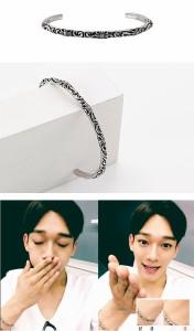 韓国スター・アクセサリー EXO(エクソ)のチェンst クロム ハーツ スリム バングル BANGLE 腕輪