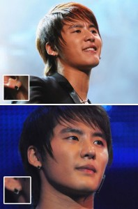 韓国スター・アクセサリー JYJのジュンスst ブラック キュービック ピアス EARRING(2個1セット)