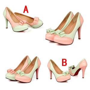 パンプス/パーティー パンプス26.5cm/厚底パンプス/走れるパンプ リボン付き大きいサイズ 婦人靴 通勤 美脚 シューズ/レディースの靴
