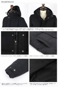 ダウンジャケット メンズ ウール メルトン ボリュームネック ダウンパーカー 中綿 軽量 防寒 フード  3977