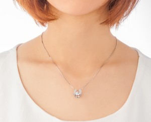 クロスフォー 「Mellow」 NYP-611 揺れるダイヤ シルバー ネックレス 可愛い 女性用 送料無料