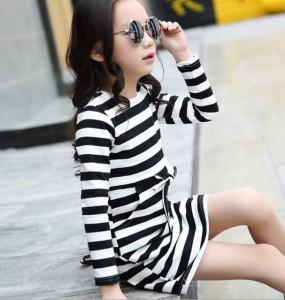 子供服Tシャツワンピース 韓国風コットン 夏ストライプ 膝丈Tシャツワンピ春秋キッズ女の子 長袖トップス 120-160ボーダー普段着