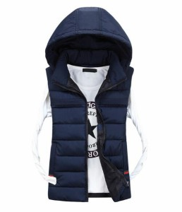 2点送料無料ペアルック男女兼用ノースリーブベスト軽量メンズ レディース防寒レディース冬アウター中綿フード付きアウター/ジャケット