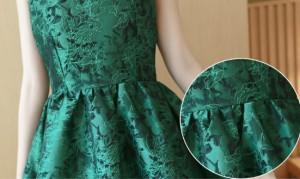 ノースリーブ エメラルドグリーン パーティードレス ワンピース 韓国ファッション ミニドレス ミニワンピース 緑 花柄