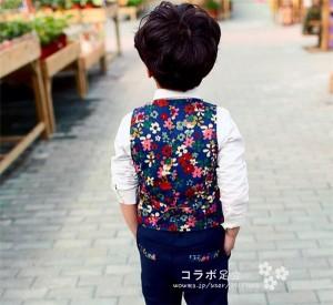 即納!送料無料!子供スーツ 男の子 キッズ フォーマル  コート 洋服 卒業式 入学式 七五三   タキシード  ジュニア 花柄 スーツ