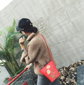 バケツ 型 刺繍 ショルダー 斜めがけ レディース バッグ 花柄 レザー調 春夏 かわいい 女性ショルダーバッグ