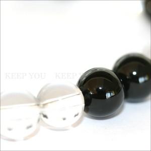 【メール便 送料無料】【開運】天然石ブレス 水晶+オニキス 8mm玉 MIX 2*2【クリスタルクォーツ/黒瑪瑙 8ミリ】 ┃