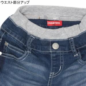 NEW♪サイド切替デニムロングパンツ-ベビーサイズ キッズ ベビードール 子供服-9664K
