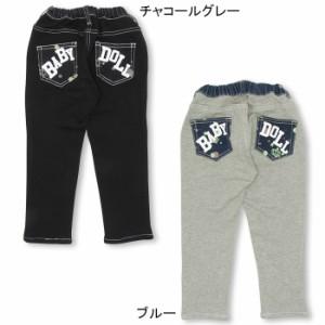NEW♪デニム切替ペイントロングパンツ-ベビーサイズ キッズ ベビードール 子供服-9671K