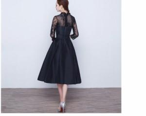 大人気パーティードレス 結婚式 ドレス 袖あり ウエディングドレス  ワンピース 二次会ドレス パーティドレス お呼ばれ レースアップ