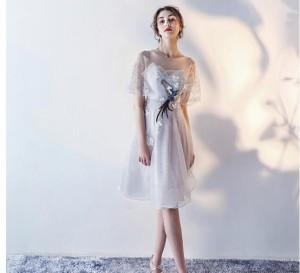 ミモレ丈 ドレス  ワンピース レース 結婚式 ワンピース 二次会 花嫁 ウエディングドレス ウェディングドレス エンパイア 結婚式