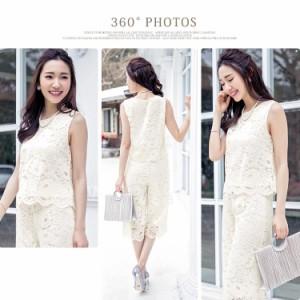 パーティードレス パンツドレス 結婚式 パンツスタイル ドレス レース パンツ セットアップ 結婚式ドレス 総レース 大きいサイズ 90