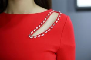 セクシー×エレガント 肩魅せstyle!上品なビジュ装飾デザイン ロングドレス 赤 longer longstre longtyte longsexy