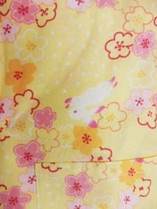 日本製 7〜8歳用 男物 子供甚平 120サイズ クリーム地 ウサギ 小梅柄 No.29736