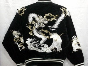 スカジャン 龍と虎 日本製本格刺繍のスカジャン