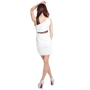 ドレス キャバ ミニ キャバドレス シースルー切替アシメタイトミニドレス ワンピース キャバ嬢 ノースリーブ 2040