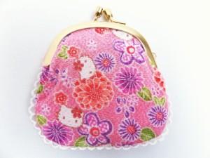 和×ハローキティちゃんコラボ 和柄がま口財布サイフ・小銭入れピンク色地菊梅小花