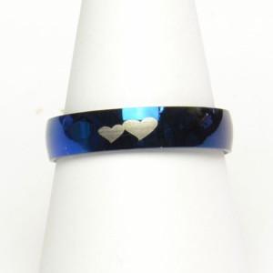 ダブル ハート ブルー ステンレス リング 28号 レディース メンズ 指輪 アクセサリー f-er547